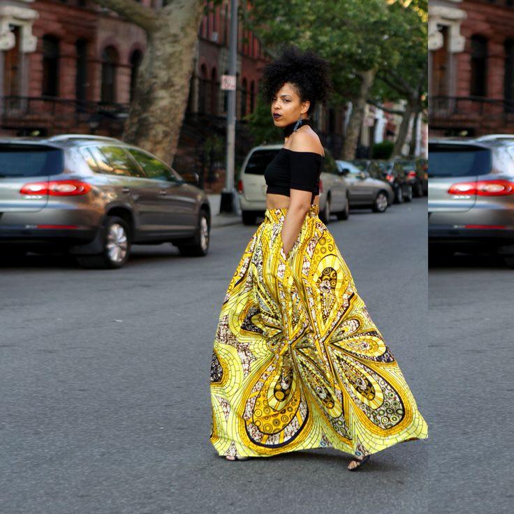 African Fashion Printed High Waist Skirt