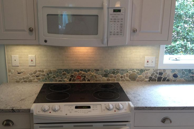 Custom Backsplash Border With Dragonflies Crabs Starfish
