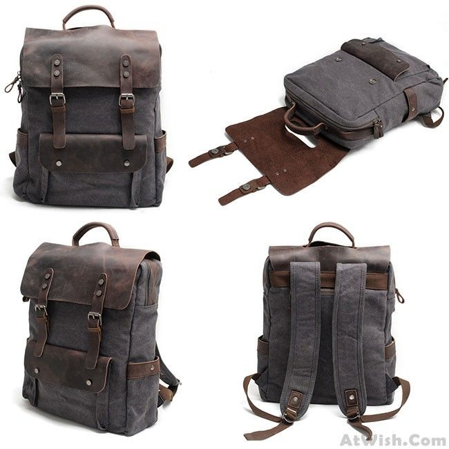 Vintage Large Laptop Thick Canvas Travel Rucksack Bag Splicing Leather Outdoor Backpacks