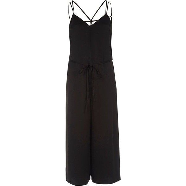 River Island Black strappy cami culotte jumpsuit (£72) ❤ liked on Polyvore featuring jumpsuits, jumpsuit, black, rompers/ jumpsuits, women, satin camisole, strappy cami, tall jumpsuit, loose jumpsuit and playsuit jumpsuit