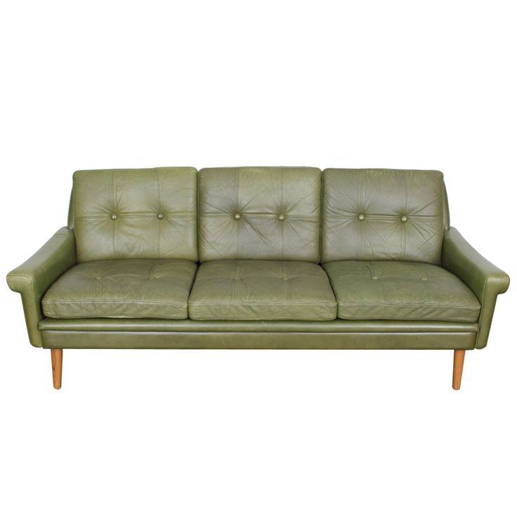 Chaise Lounge Sofa Mid Century Modern Green Leather Sofa by Skippers Mobler From a unique collection of
