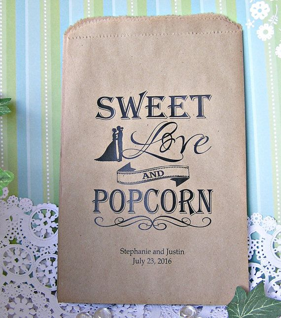 Wedding Popcorn Bar Bags - Popcorn Bags - Popcorn Bar - Rustic Wedding - Country Wedding - by SMCfavors