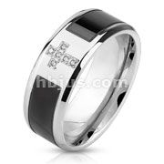 Black & Silver CZ Cross Center Band