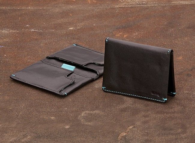 Slim Sleeve Wallet from Bellroy.  Love the turquoise stitching detail on this smart wallet.