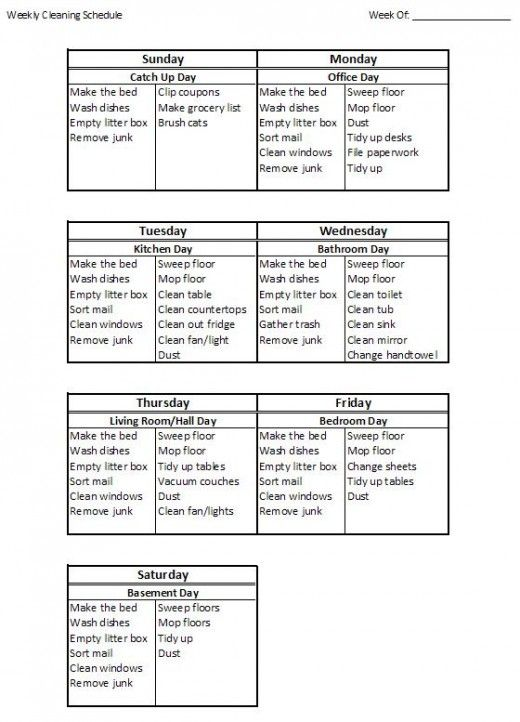 Household cleaning schedule - An idea I want to keep in case I decide to be a stay at home mom :)