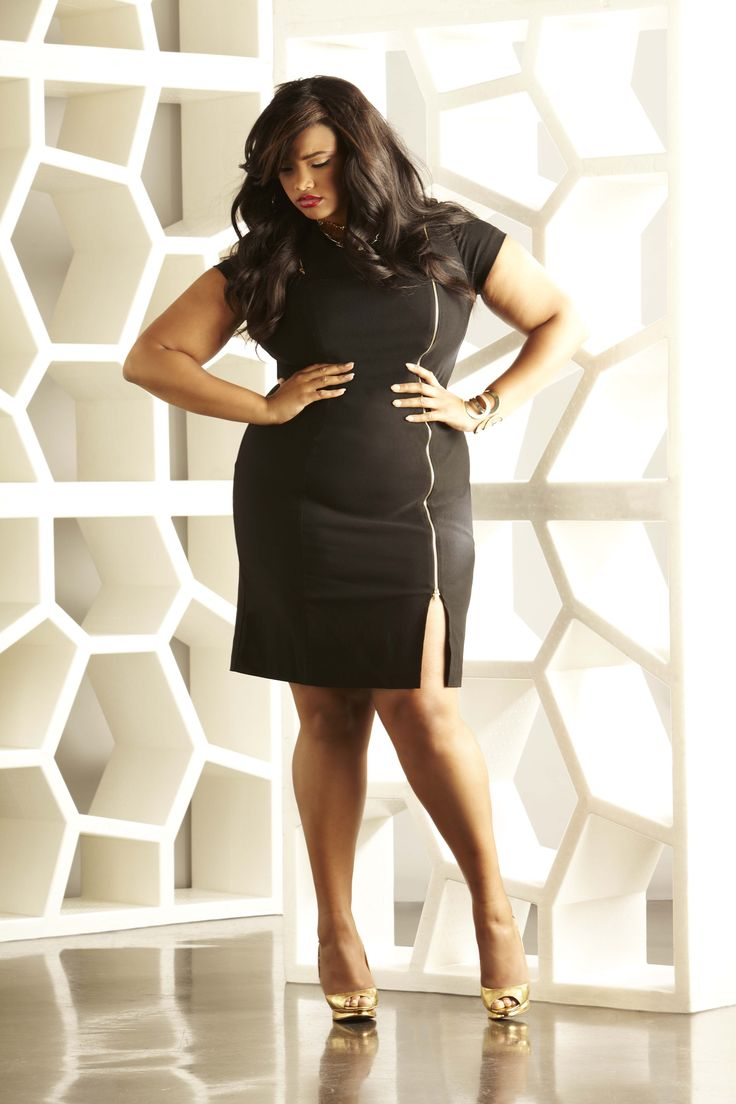 Signature by Ashley Stewart Campaign 2013 with Model Anita Marshall. Asymmetrical Zipper Front Dress.