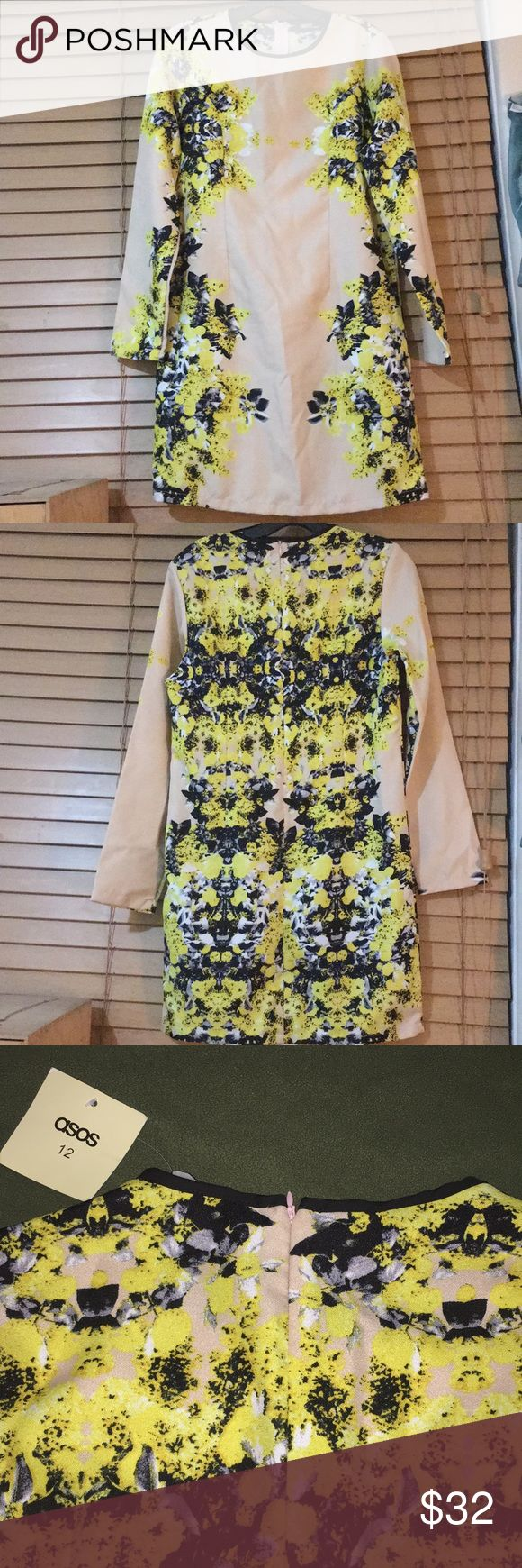 New ASOS Dress Size 12 UK/8 US New ASOS shift dress  UK Size 12, US Size 8 100% polyester, unlined  35-36 inch bust 23 inch long sleeves About 34 inches long from top of shoulder  Cream background with yellow flowers, gray/black/white leaves  Black around neckline  Zip-up back ASOS Dresses Long Sleeve