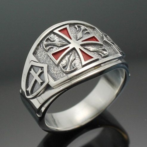 Knights Templar Masonic Ring for Men in Sterling by ProLineDesigns