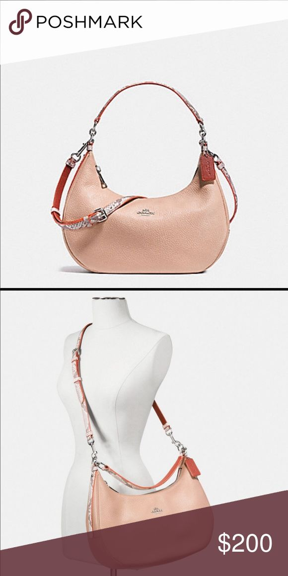Coach handbag HARLEY EAST/WEST HOBO IN PEBBLE LEATHER WITH PYTHON EMBOSSED TRIM. Brand new still in plastic bag never used. Received as a gift. Very versatile and can be used as an everyday bag. Super cute. Coach Bags Crossbody Bags