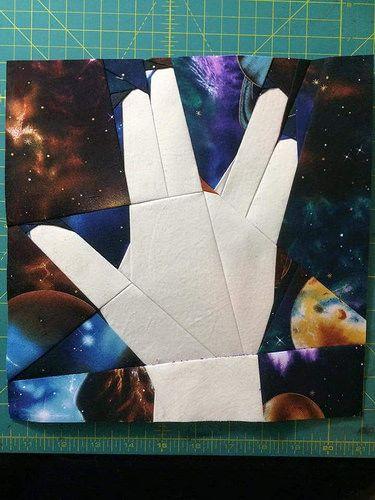 Paper pieced quilt featuring Mr. Spock from Star Trek