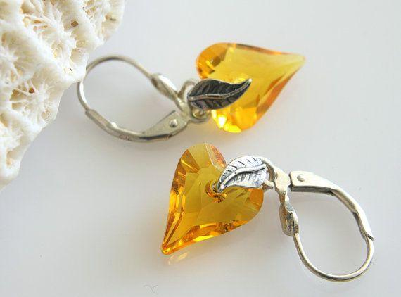 Swarovski Yellow Earrings Sunflower Yellow by crystalglowdesign