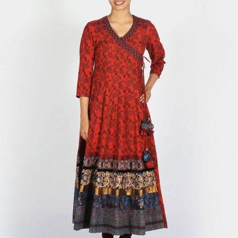 Dark Red Printed Cotton Flared Angrakha