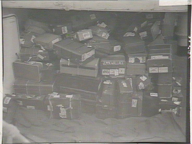 """Migrants' luggage from the """"Empire Brent"""", 5/1948. Find more detailed information about this photograph: http://www.acmssearch.sl.nsw.gov.au/search/itemDetailPaged.cgi?itemID=216848 From the collection of the State Library of New South Wales: http://www.sl.nsw.gov.au"""