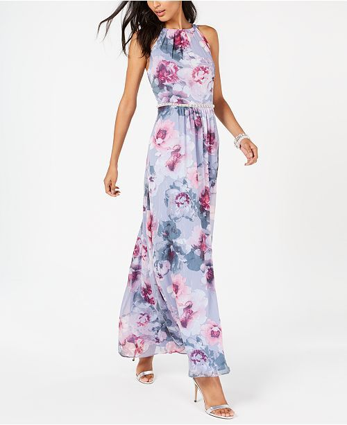2be3f8ab5321 SL Fashions Floral & Metallic Maxi Dress & Reviews - Dresses - Women -  Macy's
