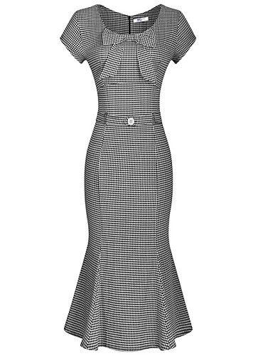 De las mujeres Corte Sirena Vestido Vintage Un Color Hasta la Rodilla Escote en U Algodón / Poliéster 4278346 2016 – $22.99