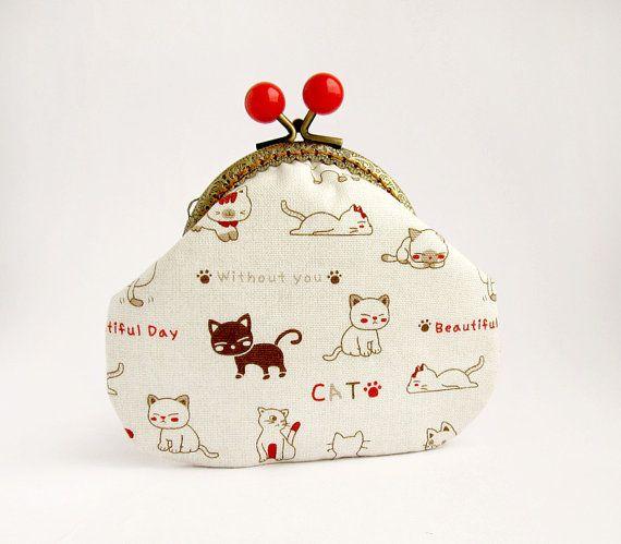 Cats Purse White Brown Kitten Kawaii Change by VasilinkaStore, $25.00