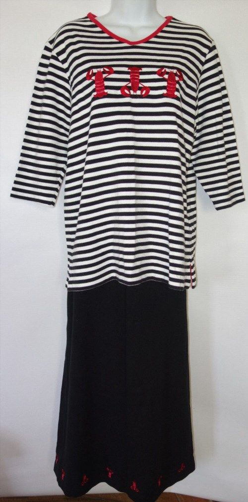 22.76$  Watch now - http://viwzn.justgood.pw/vig/item.php?t=g24ozn56344 - Quacker Factory Women M 2pc Lobster Print Top Long Skirt Set Black Stripe ab2 22.76$