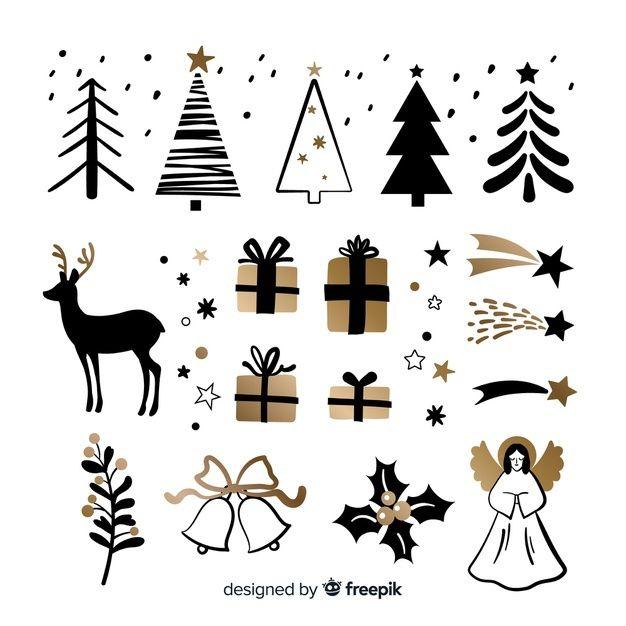 Coleccion De Elementos Navidenos Dibujad Free Vector Freepik Freevector Navidad Arbo Weihnachten Illustration Weihnachtsmalvorlagen Weihnachtsschilder