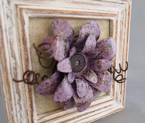 Purple Metal Flower Mixed Media Original Wall Art by merritthyde