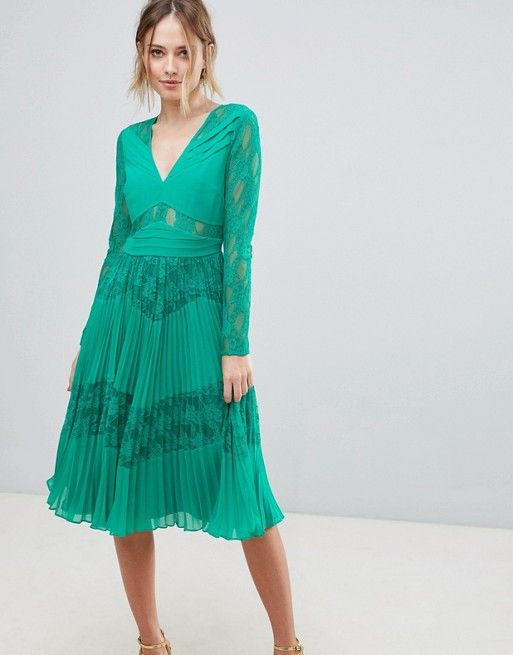 2c17f11cc6b0d ASOS Pleated Lace Insert Midi Dress