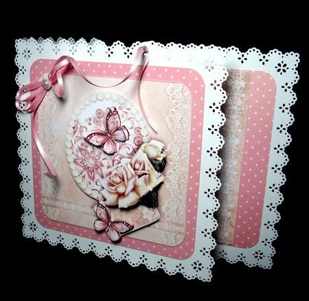 DUSKY PINK BUTTERFLY & ROSES decoupage by Dianne Jackson I co-ordinated this sheet with a pink spotty backing paper and mounted onto a punched stand out card. I decoupaged with sticky pads and added the border to each side of my card. I finished with a pink ribbon bow