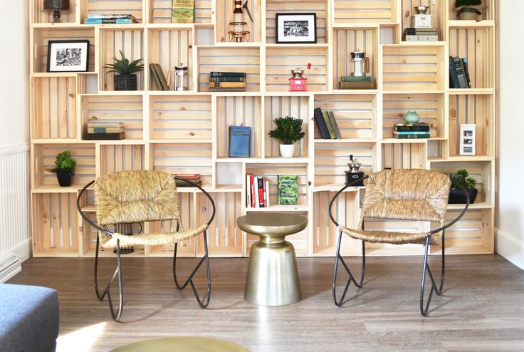 Wood crates used as a bookcase