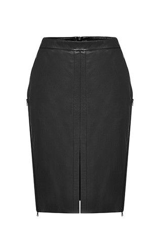Division Side Zip Leather Skirt