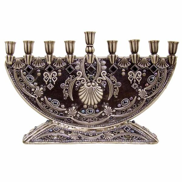 A lovely Michal Golan Menorah. Part of the Michal Golan Judiaca collection, The Michal Golan Judaica collection features hand made menorahs, mezuzahs, wall hamsas. Features dusky gray enamel with intr