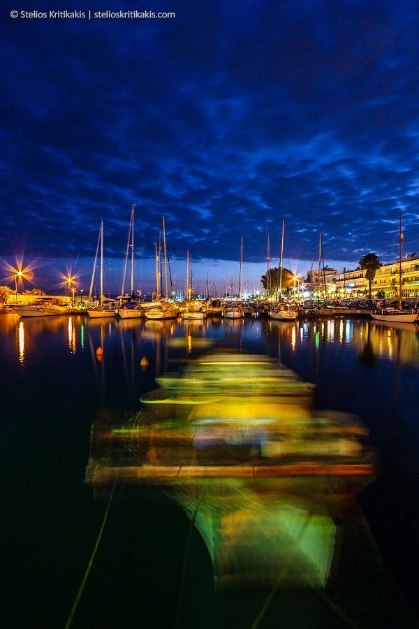 Kalamata Marina by night, Greece