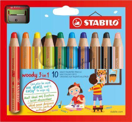 STABILO woody 3 in 1 - Buntstift, Wasserfarbe und Wachsmalkreide in einem- 10er Set - mit Spitzer, ca. EUR 14,00