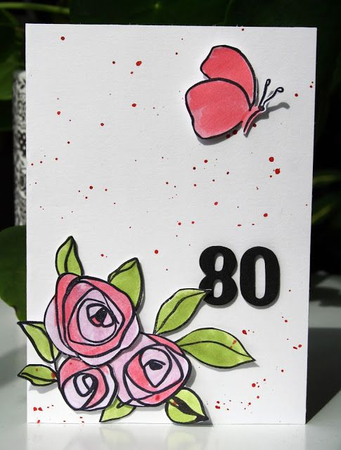 Simple roes card using stamps by Altenew