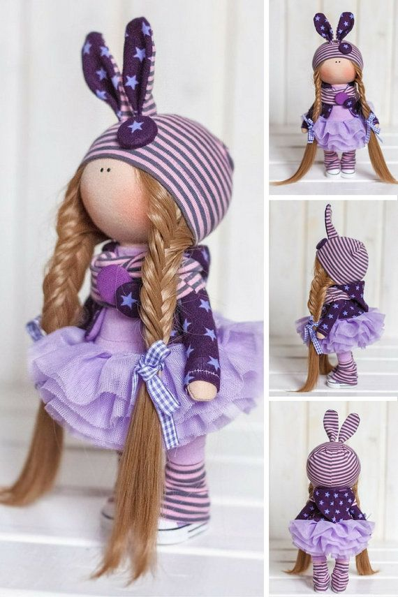Bunny doll Cloth doll Fabric doll Interior doll Handmade doll Textile doll Tilda doll Violet doll Rag doll Art doll Winter doll by Tanya E __________________________________________________________________________________________  Hello, dear visitors!  This is handmade soft doll created by Master Tanya E. (Moscow, Russia). Doll is 26 cm (10.2 inch) tall.  Dolls and toys are made from quality materials - european dolls fabric and/or american 100% cotton. Knitted elements are made from w...