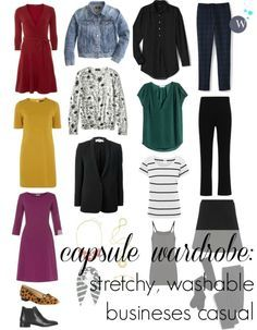 a capsule wardrobe - business casual with stretch and all machine washable