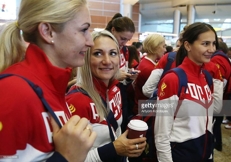 Russian handball players Vladlena Bobrovnikova, Polina Kuznetsova and Ekaterina Ilina (L-R) at Sheremetyevo International Airport ahead of leaving for the 2016 Summer Olympic Games to be held in Rio de Janeiro, Brazil on August 5-21, 2016. Artyom Korotayev/TASS