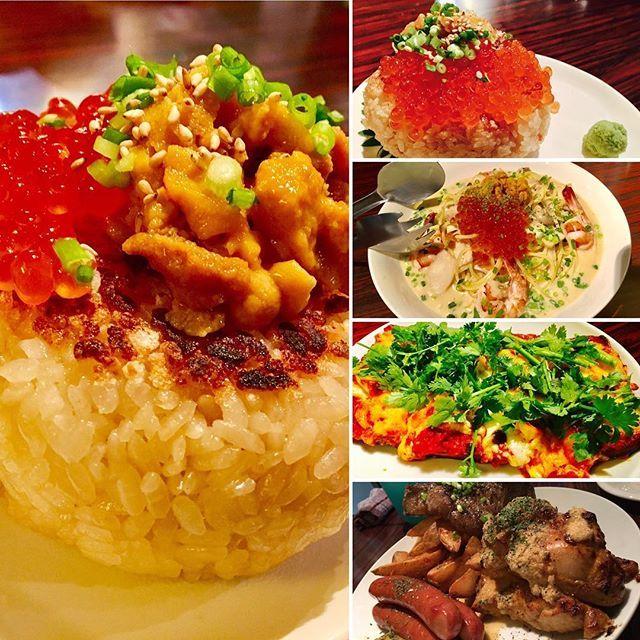時には外食もね(o^^o)❤️@渋谷のとあるBARごはん ウニいくらおにぎり🍙 ウニいくらパスタ(笑) パクチートムヤムクンピザ🍕 お肉三種盛り🍖  ぜーんぶがっつり系w 夫の好みを頼むとこんな感じ( ^ω^ )ま、美味しいからいっか!!!!(笑)  #こないだの渋谷デート #with #マイシスター👭 #夫 #うに #いくら #おにぎり #パスタ #パクチー #トムヤムクン #ピザ #肉 #三種盛り #がっつり系 #夜散歩 #渋谷bar #妊婦は飲めません #しょんぼり #男の子ママ予定 #初マタ #マタ友募集中 #マタアカ #妊娠31週 #31w3d #ブログ更新 #これから