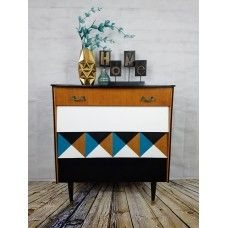 1960's Retro Optical Cube Chest Of Drawers