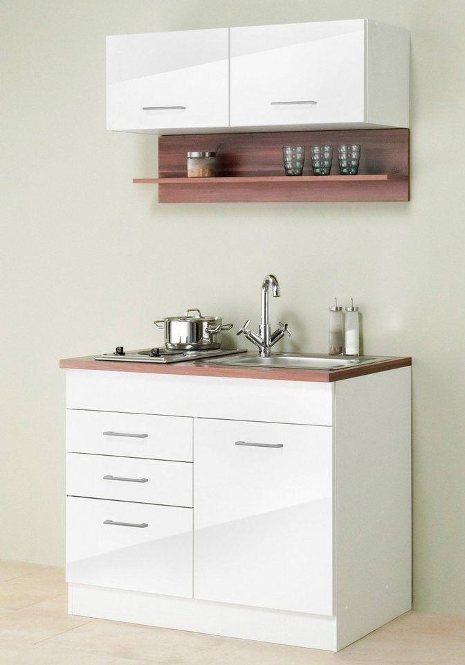HELD MÖBEL Miniküche »Breite 100 cm« ab 379,99€. Für kleine Räume, Mit pflegeleichten MDF - Hochglanz-Fronten bei OTTO