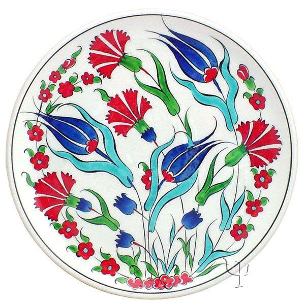 Iznik Design Ceramic Plate - Tulip and Carnation