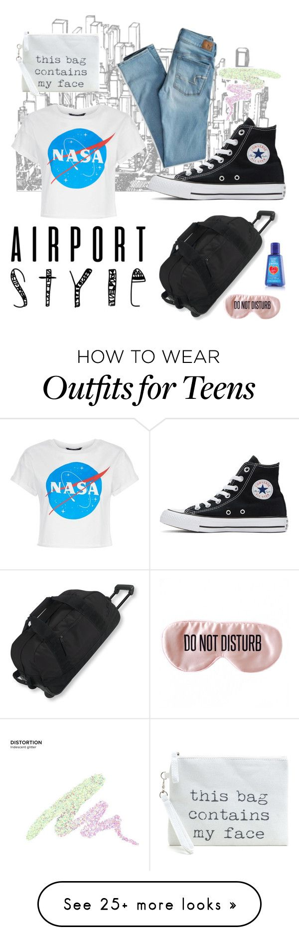 """""""Travel alert"""" by bellesandbeaus on Polyvore featuring Converse, American Eagle Outfitters, L.L.Bean, Urban Decay and BaubleBar"""