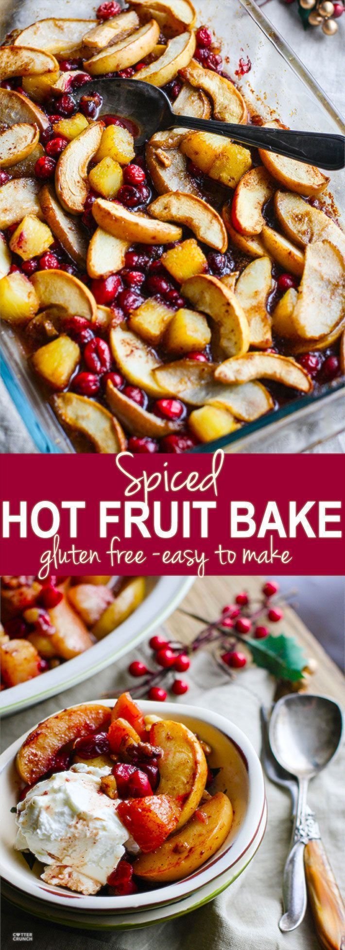 Easy Spiced Hot Fruit Bake! A delicious and healthy holiday breakfast bake! This gluten free spiced hot fruit bake also makes for a great topping for waffles, pancakes, oatmeal, or simply by itself! A nutritious dish to add to your Christmas or New Year's Brunch! Vegan friendly. www.cottercrunch.com