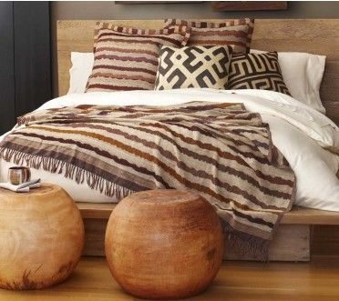 Raw Silk Striped Coverlet and Shams