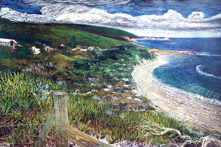 This iconic view of Yallingup looking back from Rabbit Hill was a coloured pencil drawing on a black leathercraft paper. Well known by the locals
