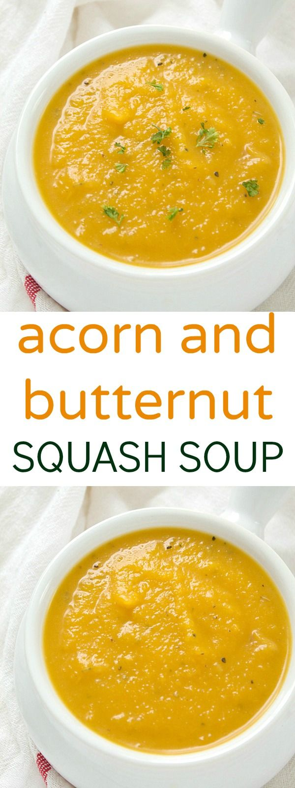 A flavorful acorn and butternut squash soup recipe that is loaded with fresh vegetables! Pairs perfectly with a slice of buttered french bread!
