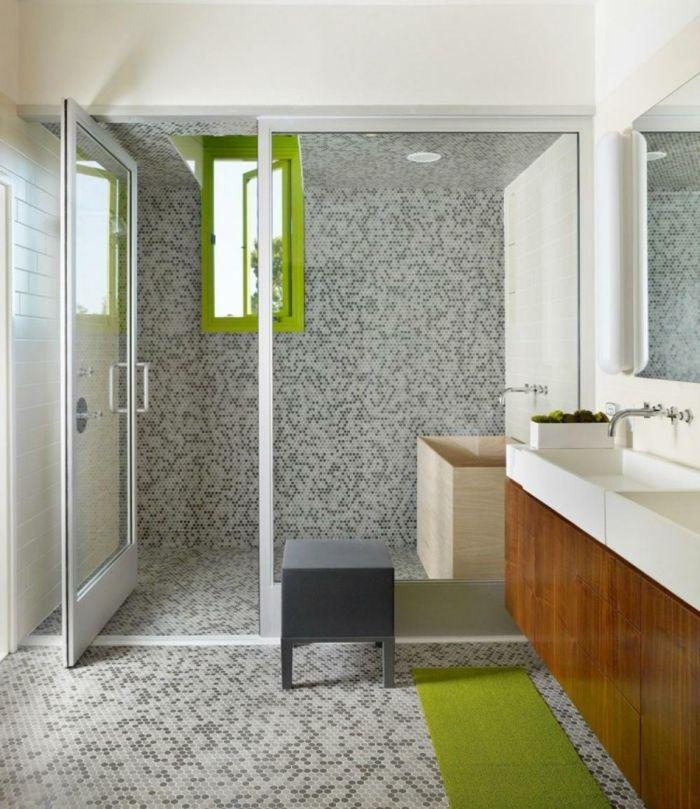 Fliesengestaltung Bad Alles Voller Mosaikfliesen In Schwarzer, Weißer Und  Grauer Farbe