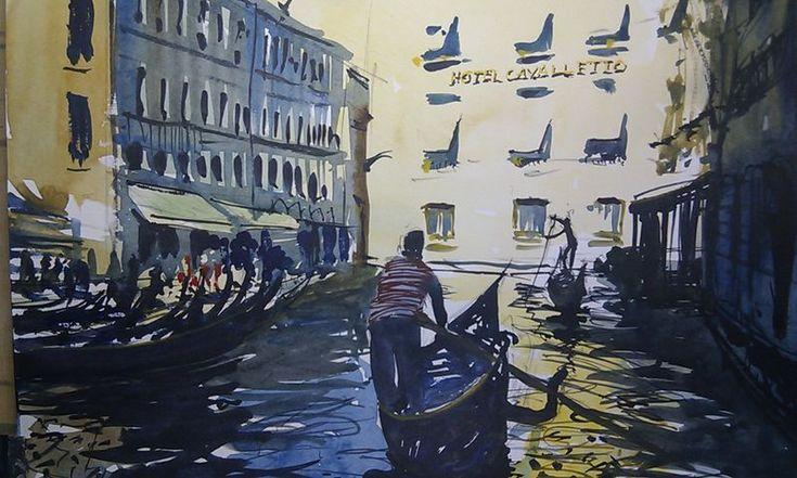 Gondolas behind St Marks Square Venice #watercolor #venice #painting