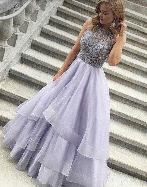 Cute round neck sequin tulle long prom gown, cute evening dress for teens