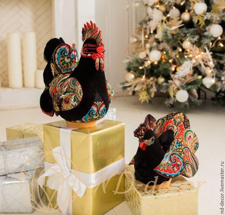 Купить Большой черно-красный новогодний Петух, текстильный, интерьерный - петух, петушок, петух в подарок