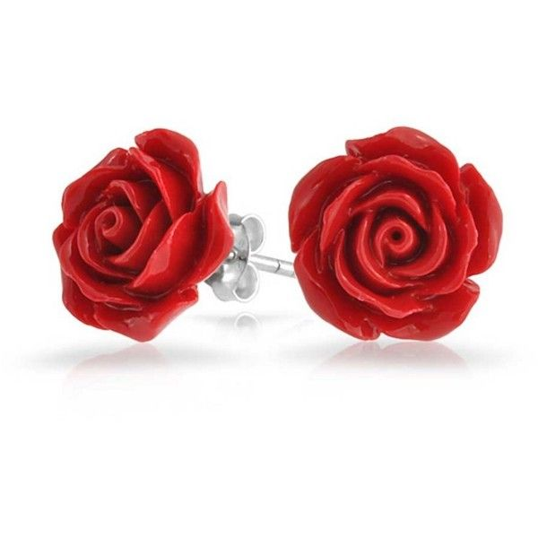 Bling Jewelry Bling Jewelry Silver Plated Rose Flower Stud Earrings... ($13) ❤ liked on Polyvore featuring jewelry, earrings, red, flower earrings, post back earrings, punk stud earrings, rose gold tone earrings and red earrings