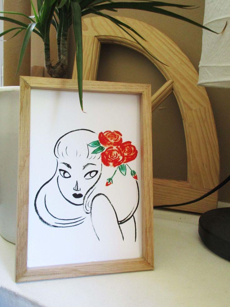 La jeune fille aux Roses. Illustration à l'encre de chine.  Illustration, déco, minimaliste, femme, fleur, rose, encre,