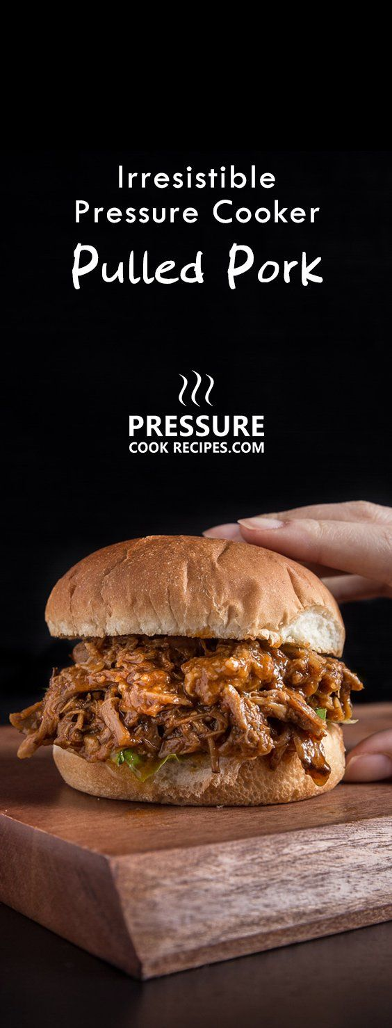 Make this irresistible Pressure Cooker Pulled Pork Recipe. Quick & easy way to make tender, juicy BBQ pulled pork packed with sweet & smoky flavors. via @pressurecookrec. For store BBQ saue, 2/3 cup BBQ sauce 1/3 cup chicken stock or water